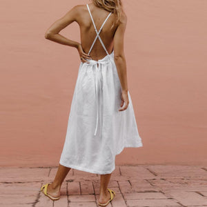 STYLISHPOP Cotton And Linen Sexy Backless Deep V-Neck Dress Solid Color Dress
