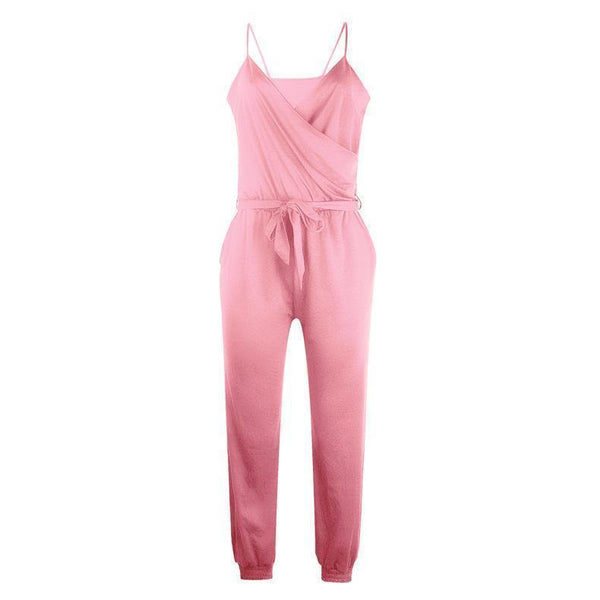 Pure Color Suspenders   Casual Jumpsuits