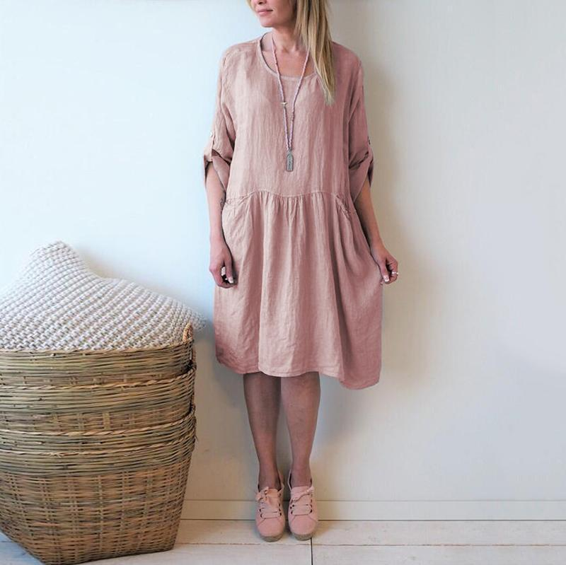 Casual Round Neck Halflong Sleeve Pleated Dress