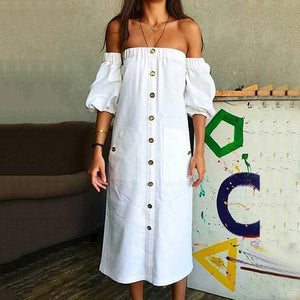 Commuting Boat Neck Bubble Sleeves Elastic Single-Breasted Dress