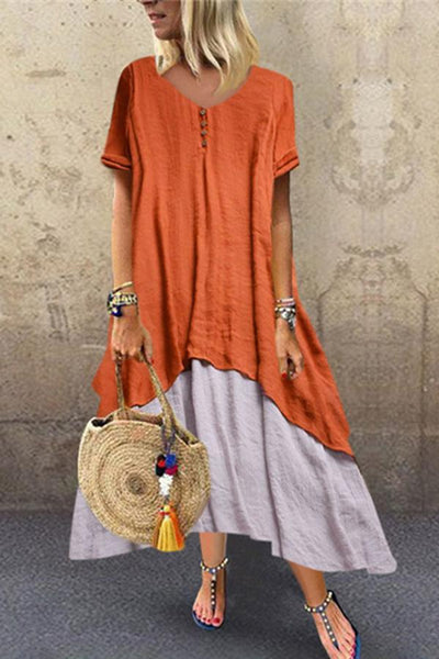 CuteMega Fashion Stitching Flax Short Sleeves Casual Dresses