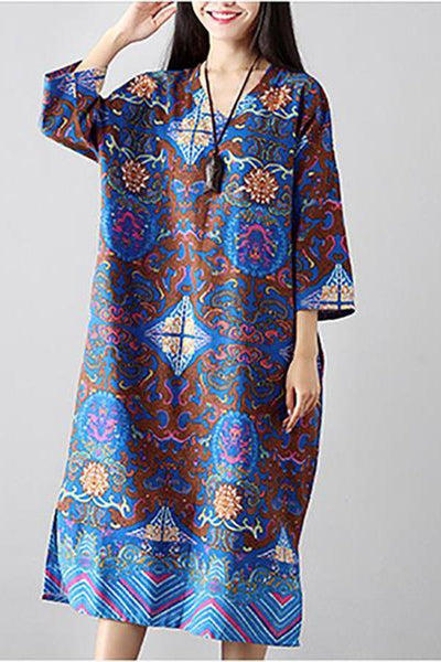 Vintage V Neck Printed Colour Long Sleeve Slit Dress