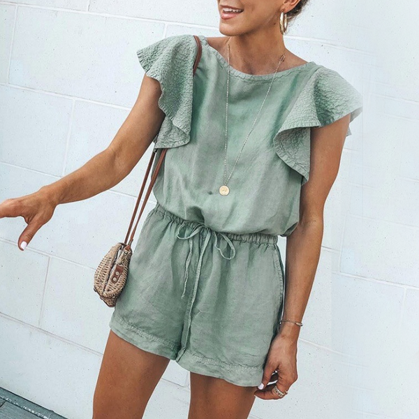 Spring And Summer Fashion Ruffled Pocket Tie Women's Jumpsuit