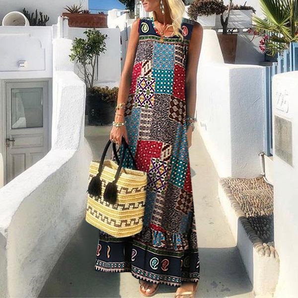 Bohemian Sleeveless Printed Colour High-Waist Dress