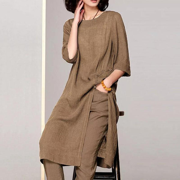 Vintage Round Neck Halflong Sleeve Single-Breasted Pure Colour Dress