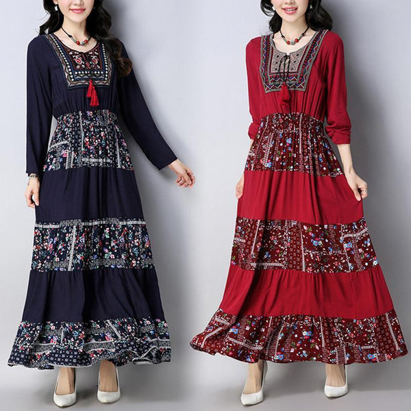 Embroidered Round Collar Long-Sleeved Long Dress