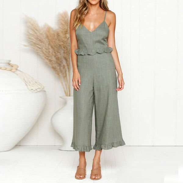 Fashion Ruffled V-Neck Camisole   Loose Wide Leg Jumpsuit