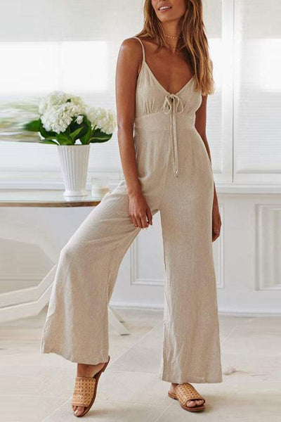 Fashion Casual Solid Color   V-Neck Sling Jumpsuit