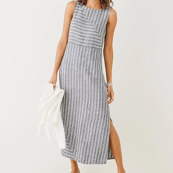 Vintage Sleeveless Striped Dress