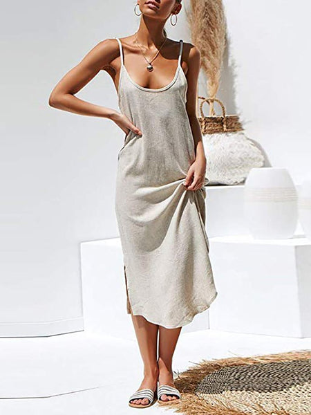 Casual Sleeveless Bare Back Off-Shoulder Slit Dress