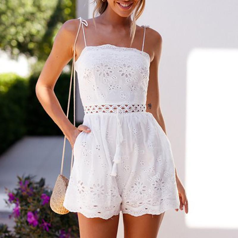 Sexy Sleeveless Bare Back Off-Shoulder Hollow Out Belted Romper