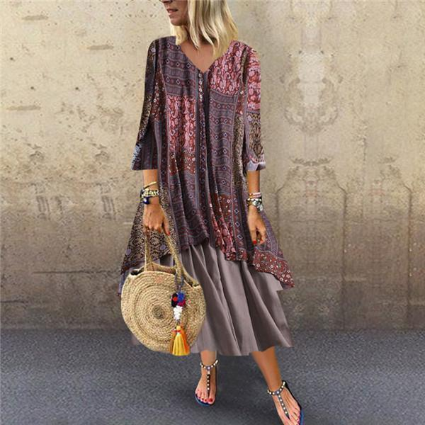 CuteMega Fashion Cotton And Linen Printing Splicing Casual Dresses