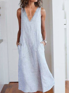 V Neck  Striped Casual Dresses