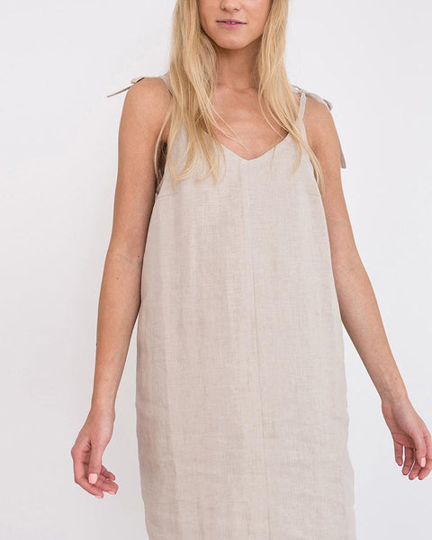 STYLISHPOP V-Neck Sling Slit Linen Dress