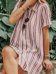 Casual Turndown Collar Short Sleeve Single-Breasted Striped Dress