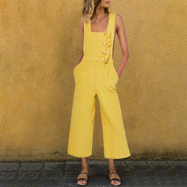 Casual Cotton And Linen Button Frilled Trim  Bodice Jumpsuit
