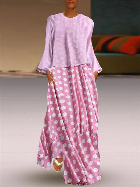 CuteMega Fashion Polka Dot Round Neck Long Sleeve Maxi Dresses