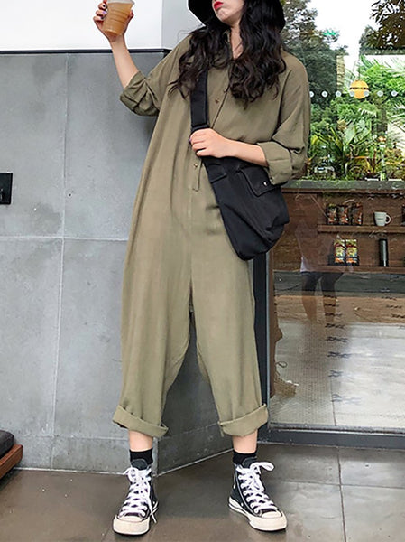 Fashion Single-Breasted Turndown Collar Long Sleeve Jumpsuit