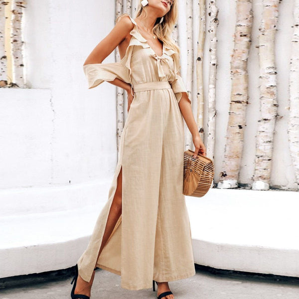 Fashion Casual V-Neck Ruffled   Slim Long Jumpsuit