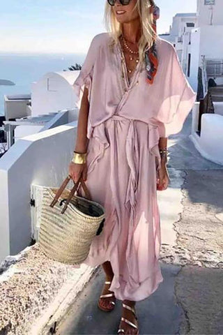 Women Lotus Leaf Loose Dress Beach Holiday Dress Color Pink