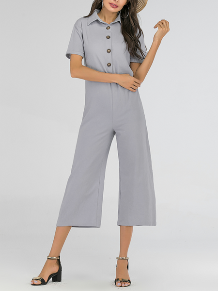 Commuting Long Sleeve Single-Breasted Turndown Collar Pure Colour Jumpsuit