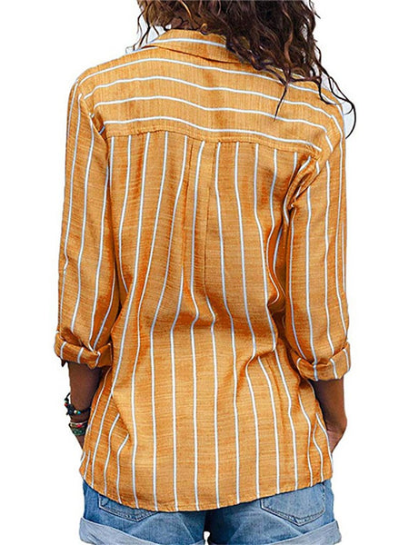 STYLISHPOP Commuting Stripe Patch Pocket Single-Breasted Long Sleeve Blouse