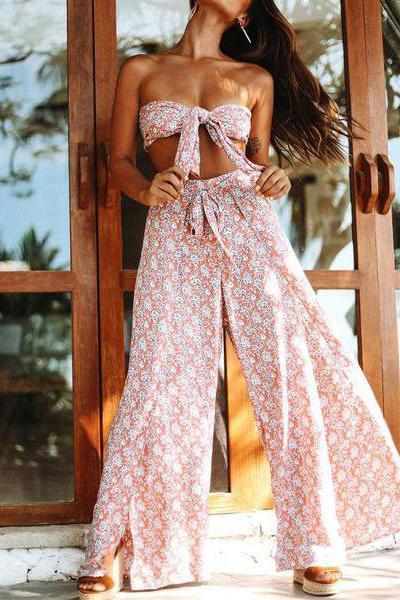 Beach Holiday Loose Split Two Sets Suit