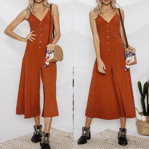Leisure Seaside Holiday Cotton And Linen Solid Color Camisole Jumpsuit