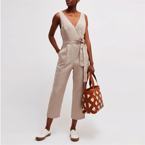 Leisure Vacation Seaside Beach Vest Bow Solid Color Jumpsuit