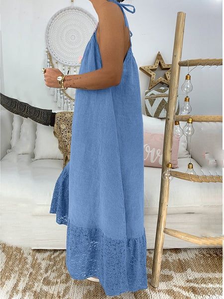 Casual Pure Colour Bare Back Loose Dress
