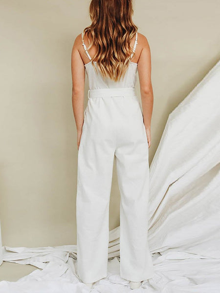Commuting Boat Neck Sleeveless Single-Breasted Single-Breasted Jumpsuit