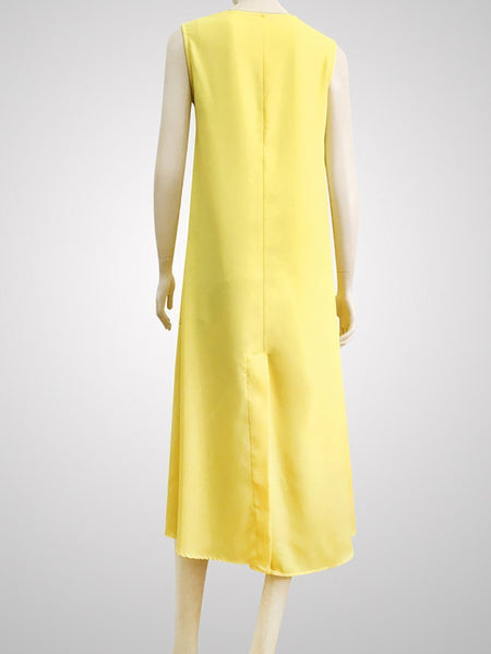 Commuting Round Neck Sleeveless Loose Pure Colour Pleated Dress