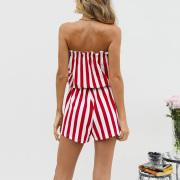 Tube Top Striped Belt Jumpsuit Set