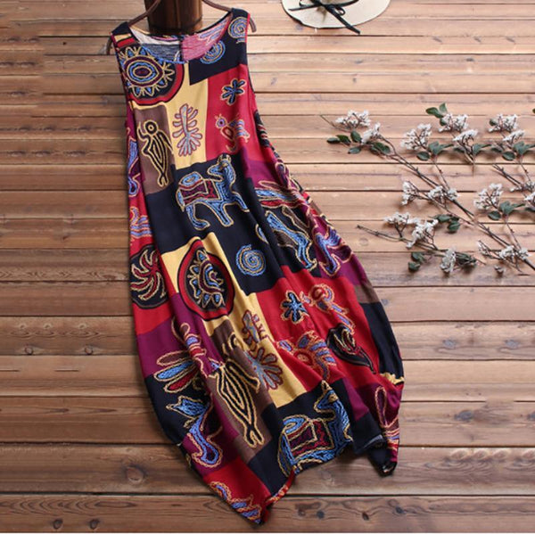 CuteMega A Two-Piece National Print Dress