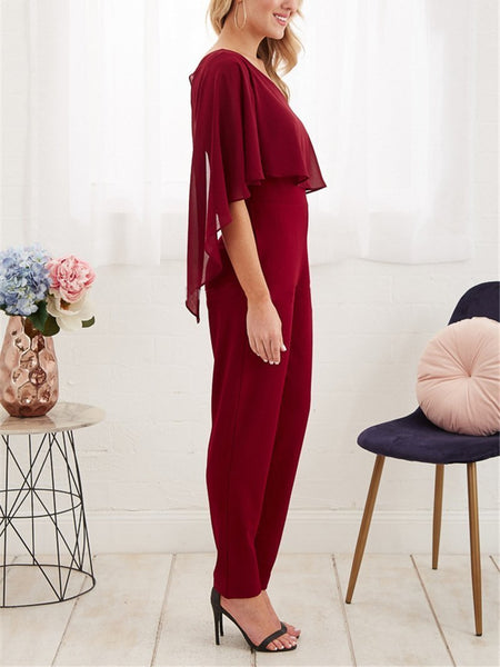 Commuting Irregular Sloping Shoulder Ruffled Pure Colour Jumpsuit