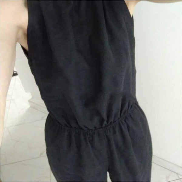 Fashion Sexy Halter Strap Cotton   And Linen Waist Jumpsuit