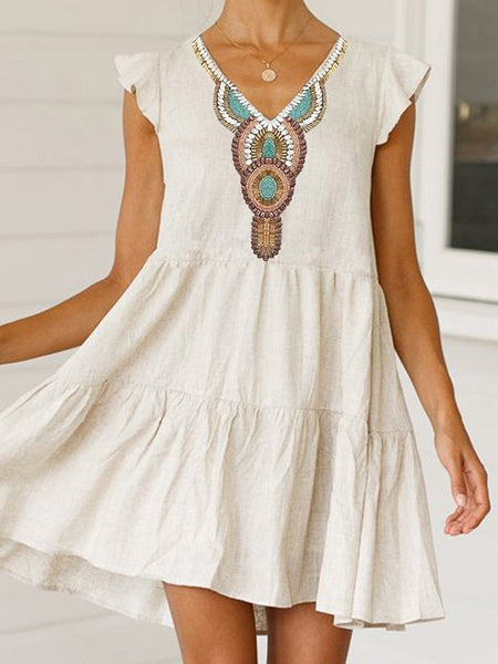 Bohemian V Neck Printed Colour Pleated Splicing Dress