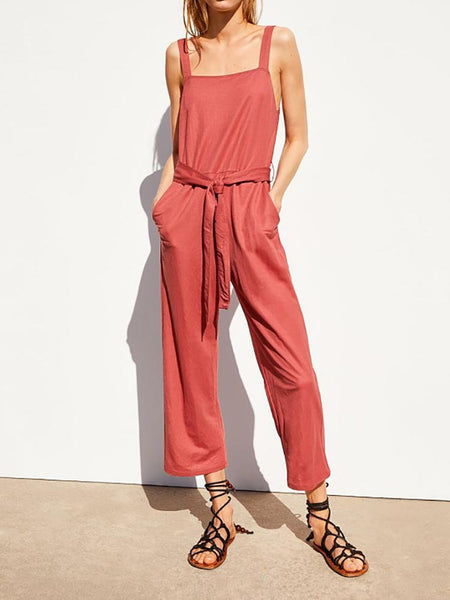 Casual Square-Cut Collar Pure Colour Belted Jumpsuit