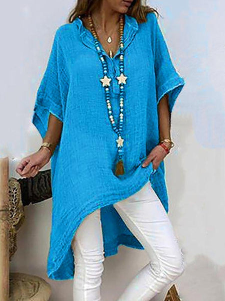 STYLISHPOP Casual V Neck  Pure Colour Batwing Sleeve Dress