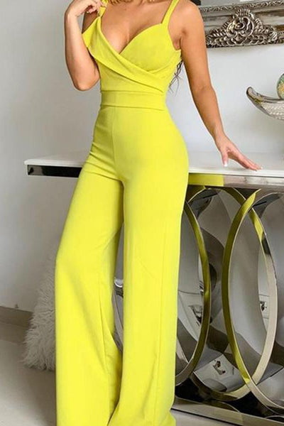 Sexy Suspender Pure Color V Collar Jumpsuits