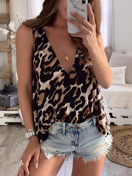 Sexy Tank Top Leopard Print Sleeveless Tank Top