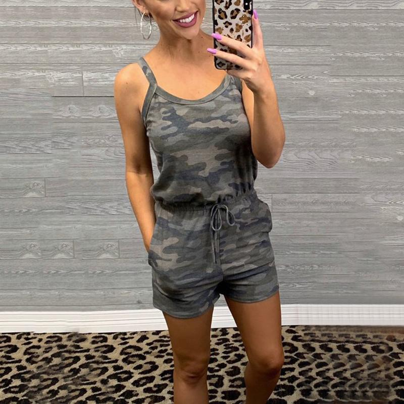 Casual Sleeveless Belted Camouflage Pattern Romper