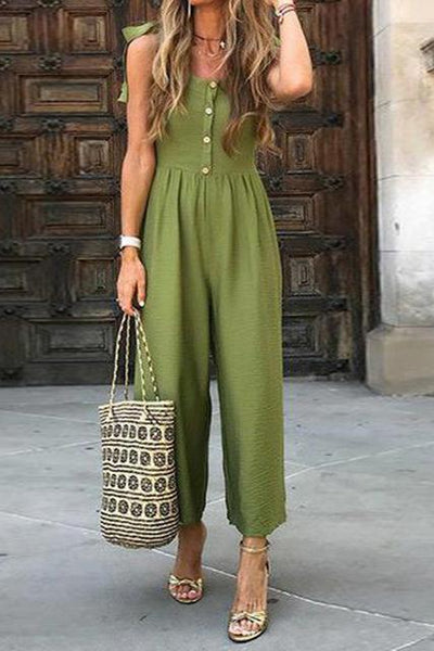 Sexy V-Neck Button Holiday Jumpsuit