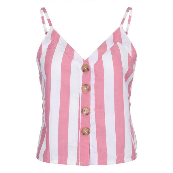 STYLISHPOP Fashion Stripe Sling Sleeveless Shirt