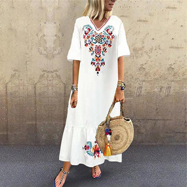 Bohemian V Neck Inwrought Bell Sleeve Pleated Dress
