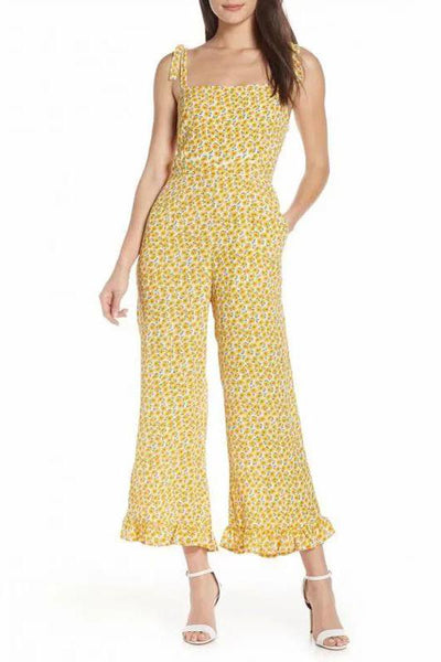 Boho Square-Cut Collar Bare Back Printed Colour Jumpsuit
