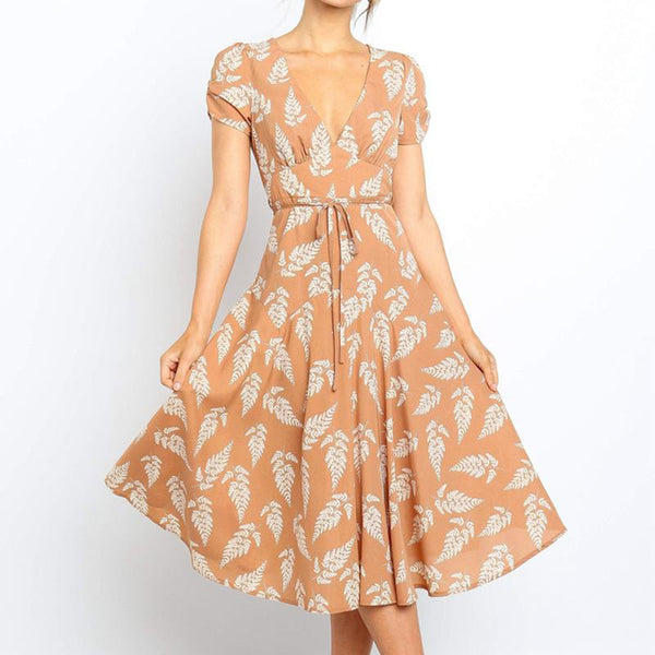Fashion Print V Neck Short Sleeve Dress