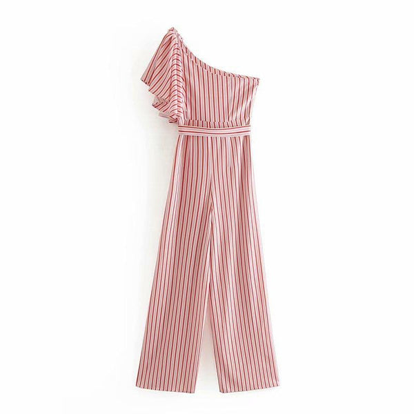 Fashion Striped Sloping Shoulder Belted Jumpsuit