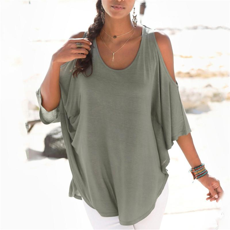 Fashion Off Shoulder Pure Color Loose T Shirt
