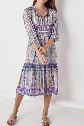 Deep V Collar Printed Belt Beach Dress